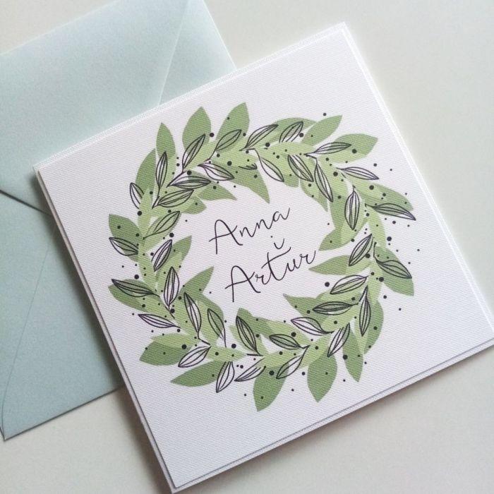 Zaproszenie ślubne z zielonym wiankiem