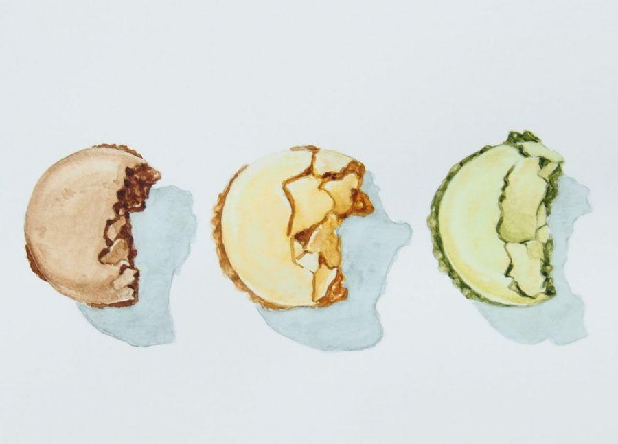 Autorska akwarela, zabawna kompozycja kolorów