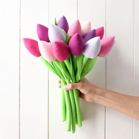 Tulipany - materiałowe kwiaty