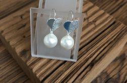 Kolczyki srebrne serca, perła seashell