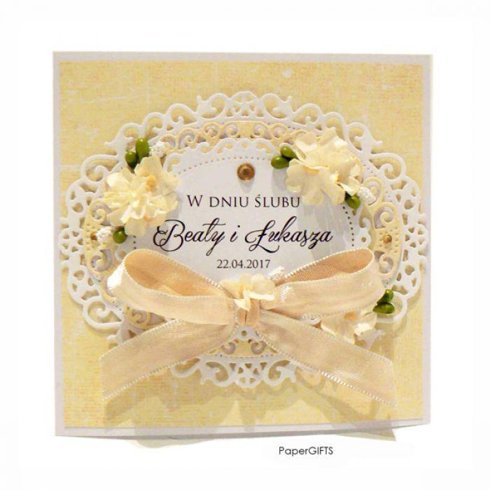 Kartka ślubna jasno-żółta ręcznie robiona - KARTKA NA ŚLUB