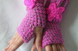 Różowo-szare rękawiczki mitenki