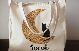 Ręcznie malowana torba z kotem na księżycu
