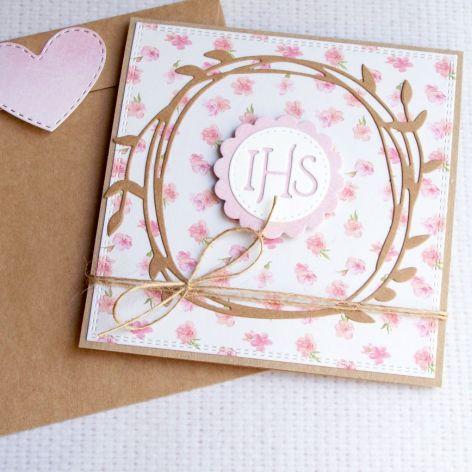 kartka komunijna :: floral ::pink