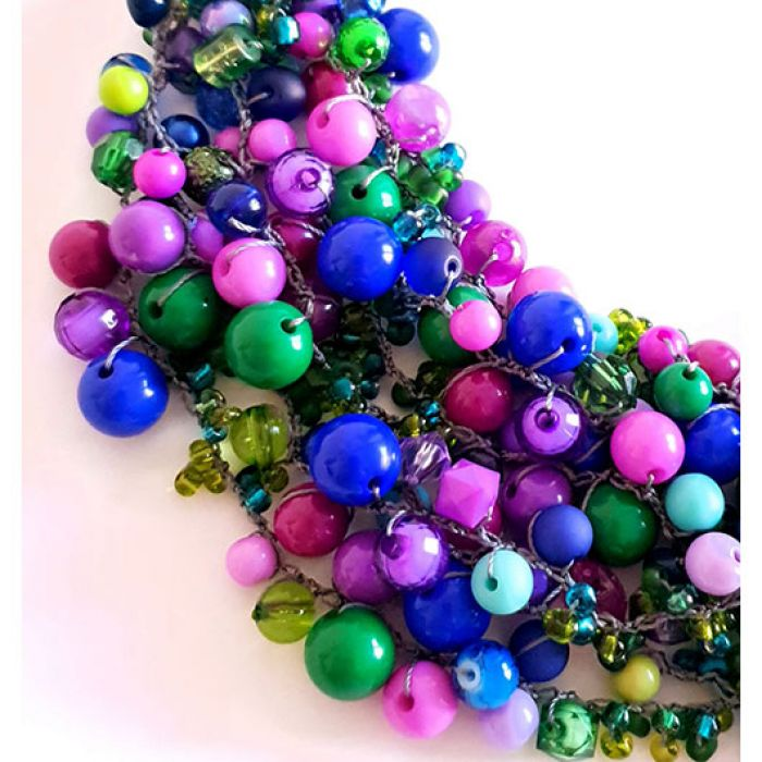 4775 naszyjnik kolia zielony fioletowy -