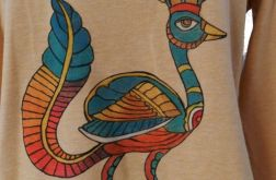Koszulka etniczna, malowana, folk, aztecka
