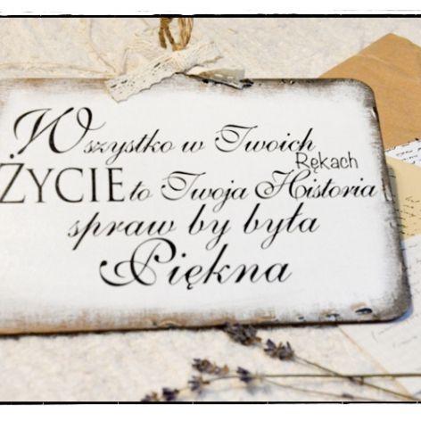 Szyld Tabliczka z napisem ~Twoja historia...~