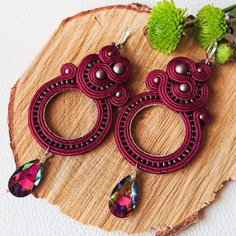Bordowe kolczyki z perłami Swarovski