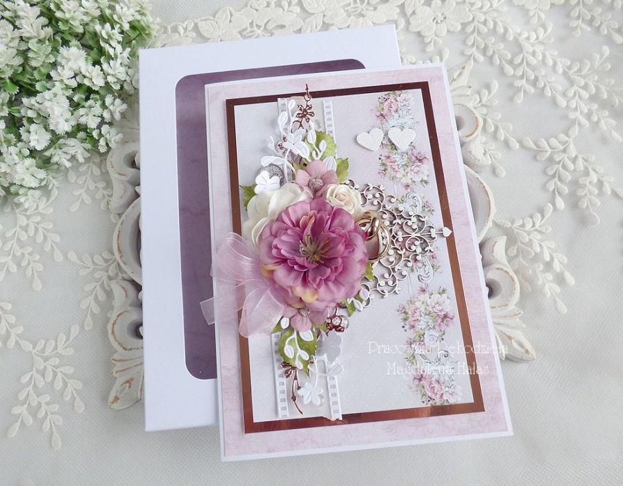 Ślubna kartka w pudełku 464