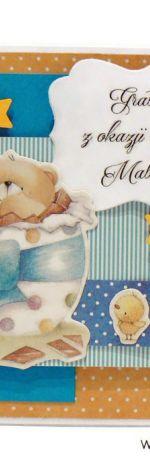 Kartka gratulacje z narodzin mały miś w jaju