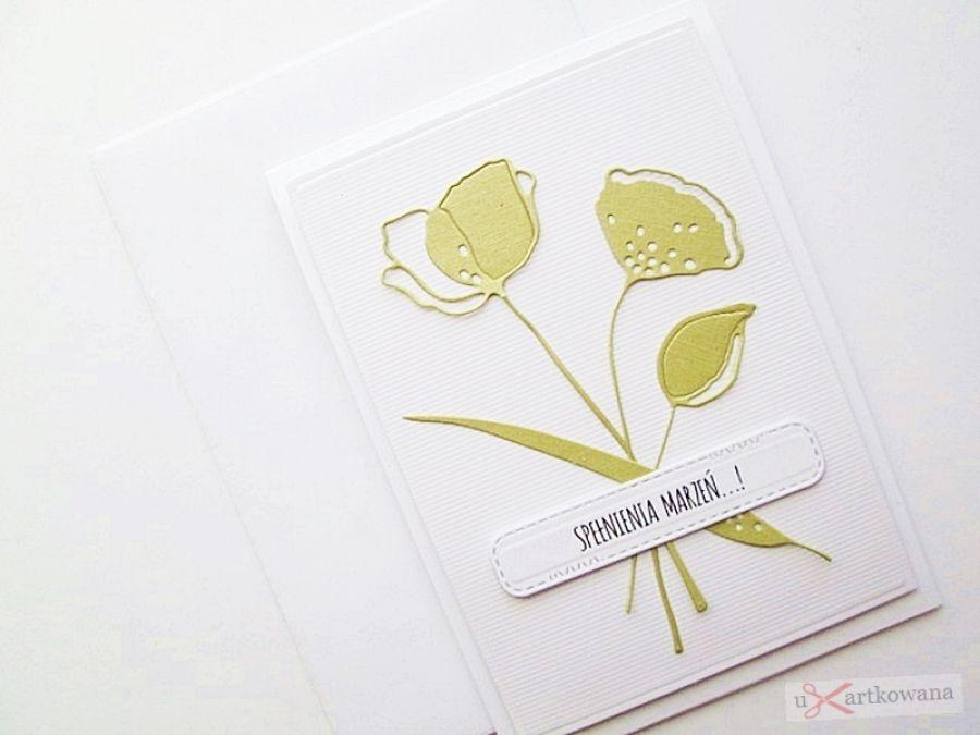 Kartka UNIWERSALNA - limonkowe kwiaty