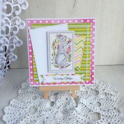 Kartka Wielkanocna z Zającem i kwiatami nr 6