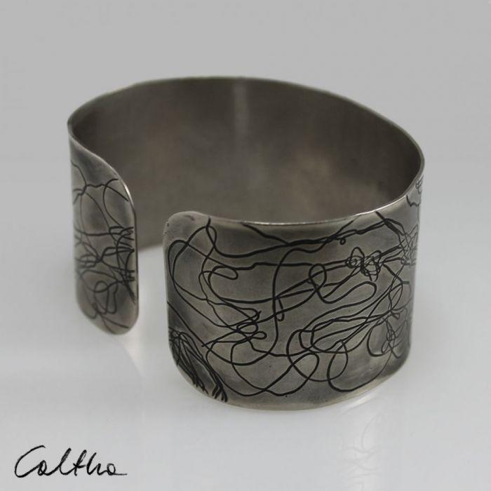 Nitki - metalowa bransoleta  151001-07 - Regulowana bransoletka