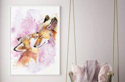 Plakat Lisia rodzinka różowy 50x70 cm