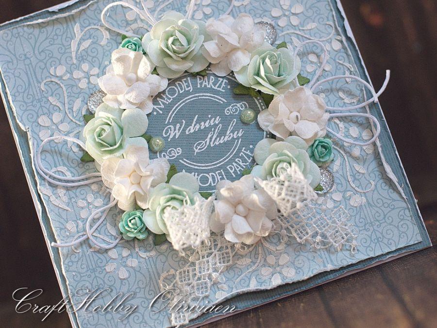 Ślubny wieniec róż - turkus