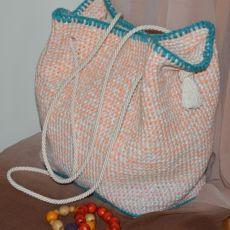 Szydełkowa jasna torba/worek