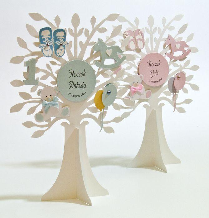 """Dekoracja na stół drzewo """"W dniu I urodzin"""" -"""