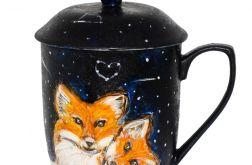 Kubek ręcznie malowany lis z zaparzaczem
