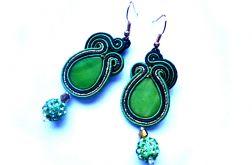 Kolczyki Sutasz z masą perłową i Shamballą w zieleni