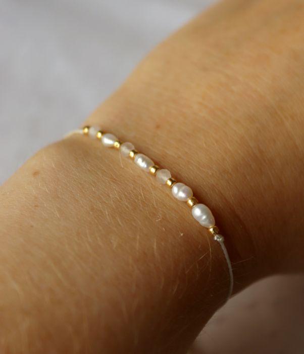 Bransoletka z perłami i kwarcem - Subtelna bransoletka w stylu boho