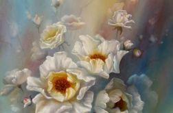 Dzika Róża, ręcznie malowany, olej