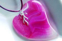 Różowe asymetryczne serce agatu,srebro,wisior
