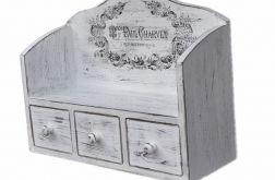 Drewniana półka na przyprawy z trzema szufladkami