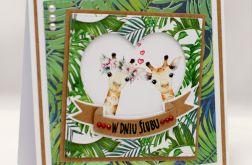 Egzotyczna kartka ślubna żyrafy KS1929