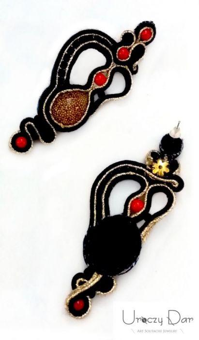 Kolczyki Black z koralem