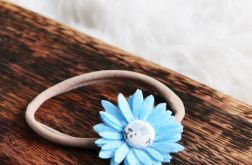 FairyBows OPASKA kwiatek 3D błękit CHRZEST