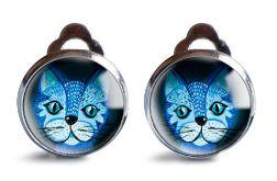 Blue cat klipsy z ilustracją