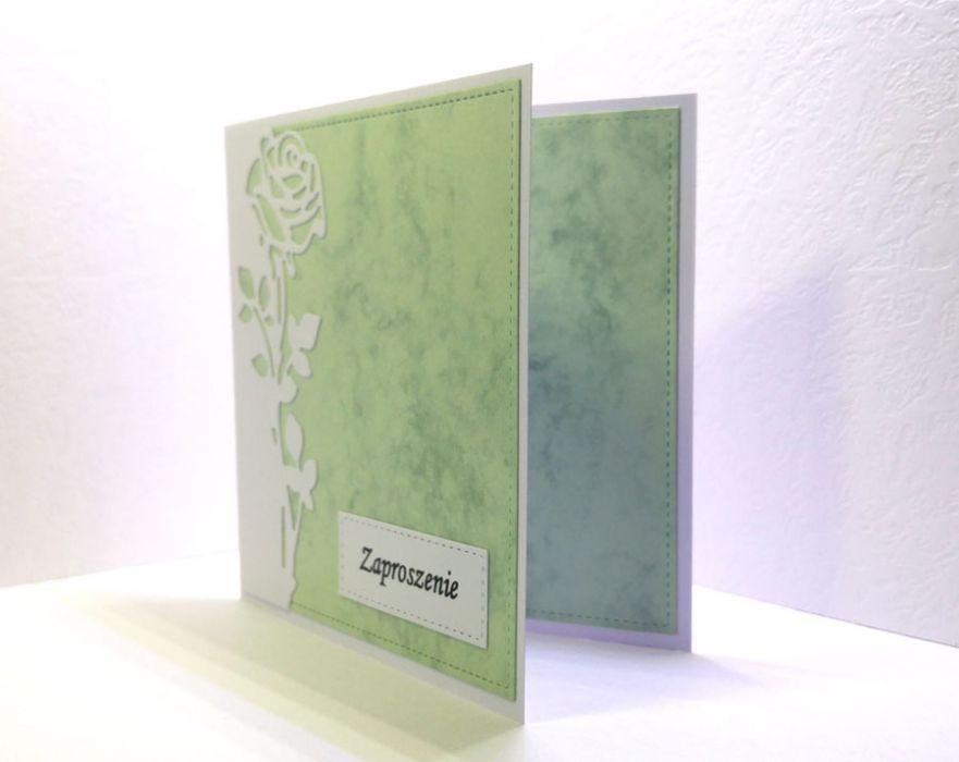 Zaproszenia z różą (bez kopert) - eleganckie wykończenie