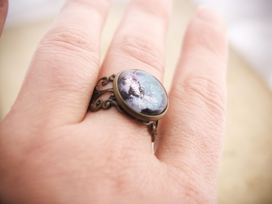 Retro pierścionek, ręcznie malowany - kosmos