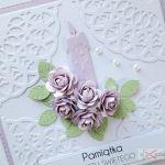 Kartka PAMIĄTKA CHRZTU ze świecą #10 - Kartka na Chrzest Święty z różyczkami