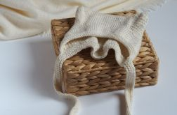 czapeczka bonetka bawełna/merino ecru