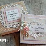 Kartka na ślub w pudełku -różowo-beżowa