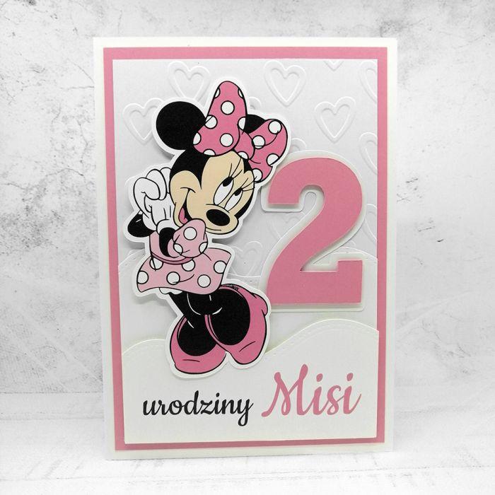 Kartka na urodziny z Myszką Minnie UDP 006 - Kartka na urodziny z Myszką Minnie dla dziewczynki różowa (4)
