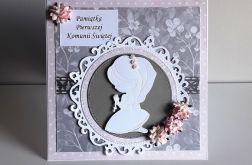 Kartka Komunia Święta dziewczynka kwiaty