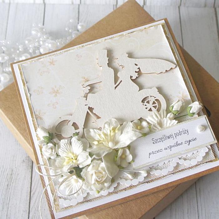 Kartka ślubna w pudełku - z jednośladem v.2 - motor3a