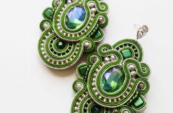 Zielono-srebrne kolczyki z kryształkami