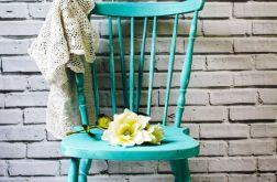 Krzesło shabby chic, kolor turkus