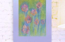 Rysunek kwiaty na fioletowym tle nr 13 szkic