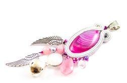 Różowo-srebrny wisior ciążowy