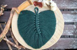 Liść piórka dekoracja boho makrama zielony