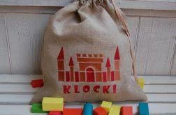 Lniany worek na klocki - Zamek