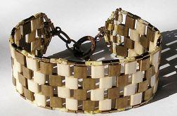 bransoletka miyuki Tila szachownica złoto beż