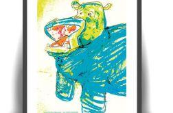 plakat dla dzieci hipopotam plakat śmieszny