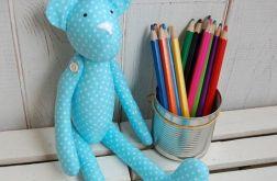 Błękitny Kropek - miś handmade