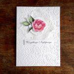 Biała kartka z różą - Z góry