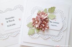 Kartka NA ZAWSZE RAZEM z różowymi kwiatami